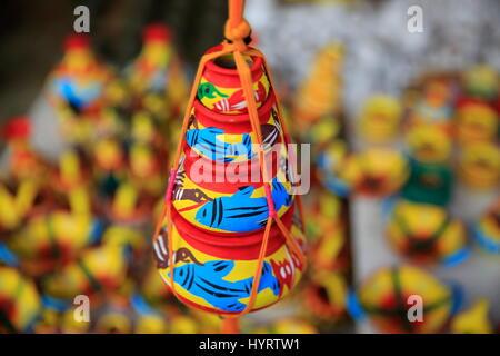 Colourful clay pots locally called Shokher Hari display at 'Lok o karushilpo Mela' at Sonargaon, Narayanganj, Bangladesh. - Stock Photo