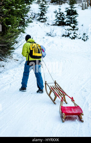 Person is pulling sledge on the mountain road in woods. Active people in the winter sports activities with sleigh - Stock Photo