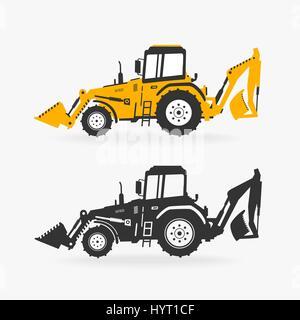Vector Illustration Excavator - Stock Photo