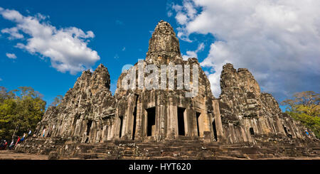 Horizontal panoramic view of the Bayon temple in Cambodia. - Stock Photo