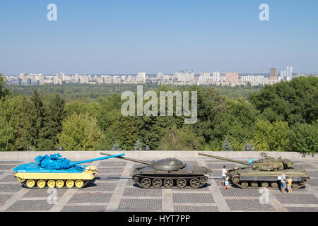 KIEV, UKRAINE - AUGUST 9, 2015: Russian T55 tank captured in Eastern Ukraine by the Ukrainian army painted with - Stock Photo
