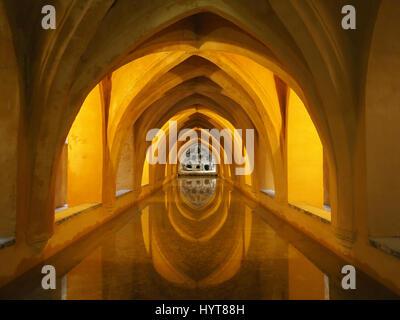 View of the Baths of Lady Maria de Padilla or Los Banos de Dona Maria de Padilla underground at the Alcazar Palace - Stock Photo