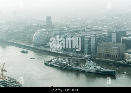 View of the river Thames through a window of the Walkie-Talkie skyscraper building at 20 Fenchurch Street, city - Stock Photo