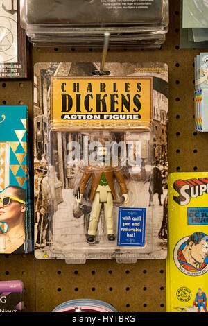 A Charles Dickens action figure for sale at Reminiscence vintage clothing and knickknack store on Fifth Avenue in - Stock Photo