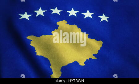 Realistic Ultra-HD flag of the Kosovo waving in the wind. Seamless loop with highly detailed fabric texture. Loop - Stock Photo