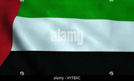 Realistic Ultra-HD flag of the United Arab Emirates waving in the wind. Seamless loop with highly detailed fabric - Stock Photo