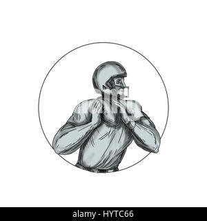 Tattoo style illustration of an american football gridiron quarterback qb player throwing football viewed from the - Stock Photo