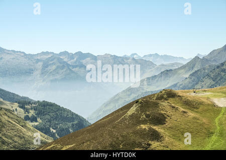 Aspin Pass (Col d Aspin) in summer. This pass is one of the iconic landmarks of the Pyrenees mountains in France - Stock Photo