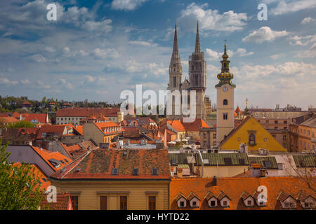 Zagreb. Cityscape image of Zagreb, Croatia during sunny spring day. - Stock Photo