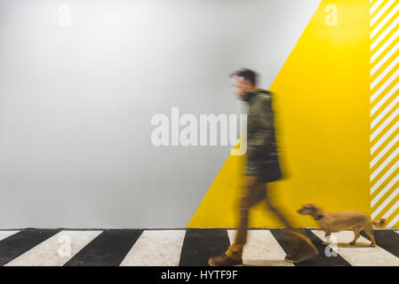 Man with a small yellow dog walking on underground passage mark with zebra crossing - Stock Photo