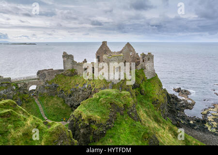 Dunluce Castle in County Antrim, Northern Ireland - Stock Photo