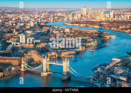 London city and Tower Bridge with Thames - view from The Shard, London, England, UK - Stock Photo