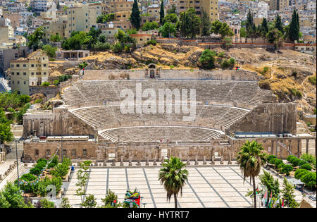 View on Roman Theater in Amman - Jordan - Stock Photo