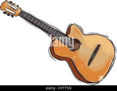 Vector illustration of a instrument guitar drawing - Stock Photo