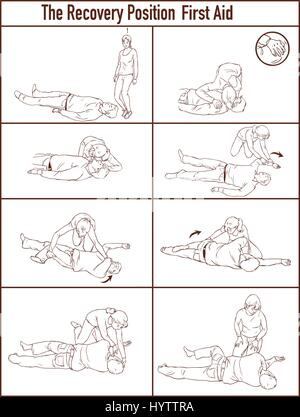 vector illlustration of a Recovery position (first aid) - Stock Photo