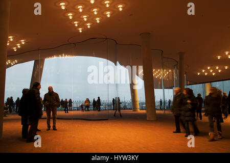 The curved windows within the public area of the Elbphilharmonie in Hamburg, Germany. The multi-purpose building - Stock Photo