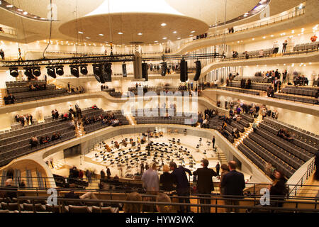 The concert hall within the Elbphilharmonie in Hamburg, Germany. The hall is highly regarded for the quality of - Stock Photo