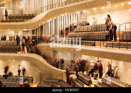 Seats in concert hall within the Elbphilharmonie in Hamburg, Germany. The hall is highly regarded for the quality - Stock Photo