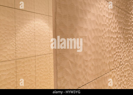 The textured wall within the concert hall at the Elbphilharmonie in Hamburg, Germany. The texturing aids the acoustics - Stock Photo