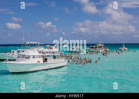 Tourists gather atStingray City which  is a series of shallow sandbars found in the North Sound of Grand Cayman, - Stock Photo