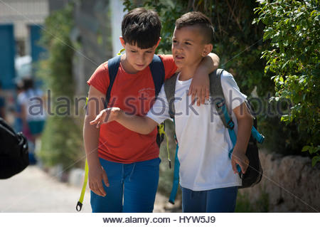 Youssef Younis and his friend Abdallah Younis at the Wadi Ara Hand in Hand School, Israel. - Stock Photo