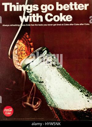 1960s magazine advert advertising Coca-Cola. - Stock Photo