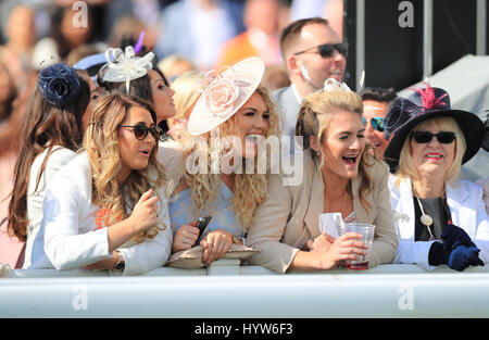 Racegoers on Ladies Day of the Randox Health Grand National Festival at Aintree Racecourse. PRESS ASSOCIATION Photo. - Stock Photo