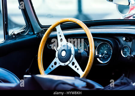 Steering Wheel And Dashboard Of Antique Car - Stock Photo