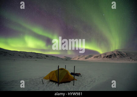 Ski touring in Abisko region, Sweden, Europe - Stock Photo