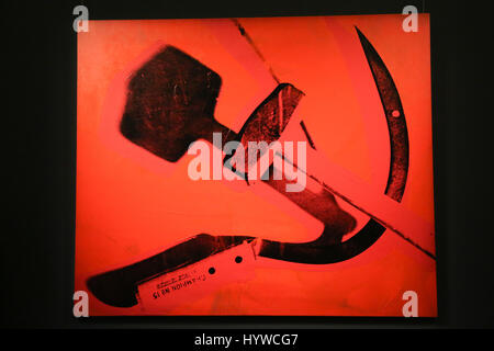 Sotheby's London, UK. 7th Apr, 2017. Hammer and Sickle, 1976 by Andy Warhol Est $6m to $8m.  The piece is part of - Stock Photo