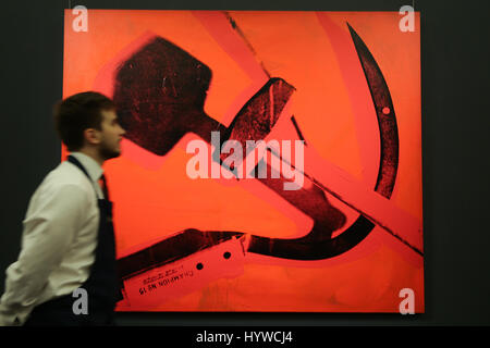 Sotheby's London, UK. 7th Apr, 2017. Hammer and Sickle, 1976 by Andy Warhol Est $6m to $8m  The piece is part of - Stock Photo