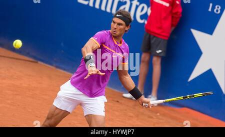 Barcelona, Spain. 26th April, 2017. Spanish tennis player Rafael Nadal during a second round game against Rogerio Dutra Silva at 'Barcelona Open Banc Sabadell - 65º Trofeo Conde de Godó'. Credit: David Grau/Alamy Live News.