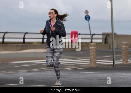 Southport, Merseyside, UK.  UK Weather. 27th April 2017.  Early morning rain in the resort,  with a cloudy start - Stock Photo