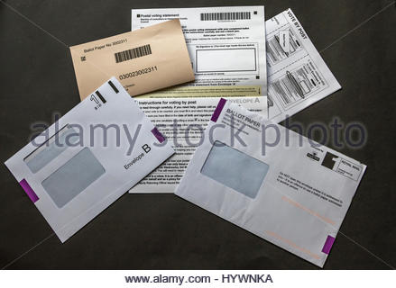 Postal voting Ballot Papers for the County Council elections on May 4th 2017 - Stock Photo