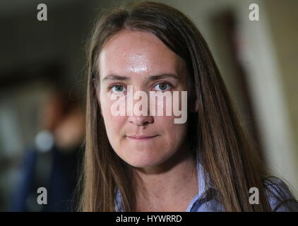 MOSCOW, RUSSIA - APRIL 27, 2017: Coordinator of the Russian Athletic Federation, Yelena Ikonnikova, after a meeting - Stock Photo