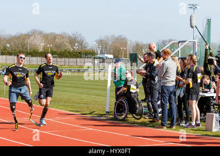 Bath, UK, 7th April, 2017. Prince Harry is pictured at the University of Bath Sports Training Village watching Athlete's - Stock Photo