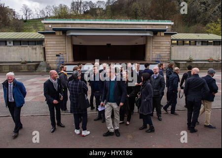 Edinburgh, UK. 07th Apr, 2017. Seven International architect teams gather in Edinburgh to look over the Ross Bandstand - Stock Photo