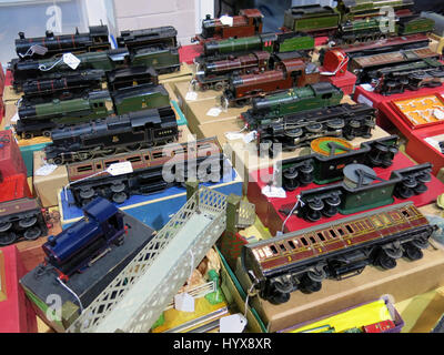 A selection of rare and collectable vintage electric model trains for sale at a Vintage Toy Fair at Bath & West - Stock Photo