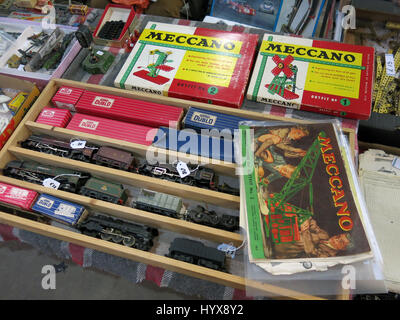 A selection of rare and collectable Hornby Dublo trains and Meccano sets for sale at a Vintage Toy Fair at Bath - Stock Photo