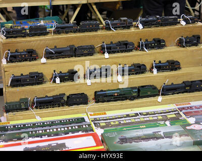 A selection of rare and collectable electric trains for sale at a Vintage Toy Fair at Bath & West Showground, Somerset, - Stock Photo