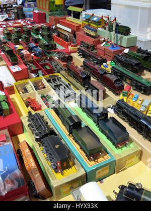 A selection of rare and collectable Hornby electric trains for sale at a Vintage Toy Fair at Bath & West Showground, - Stock Photo