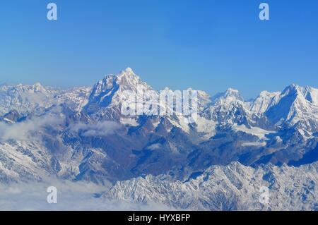 Nepal, Everest Himalaya, Wonderful aerial views in Nepal fly over to mountain Everest Himalaya - Stock Photo