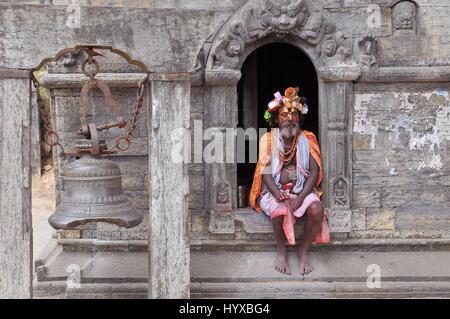 Nepal, Kathmandu, Sadhu holy man in Pashupatinath temple - Stock Photo