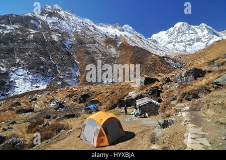 Nepal, Annapurna Conservation Area, Tents near by Machhapuchhre Base Camp - Stock Photo