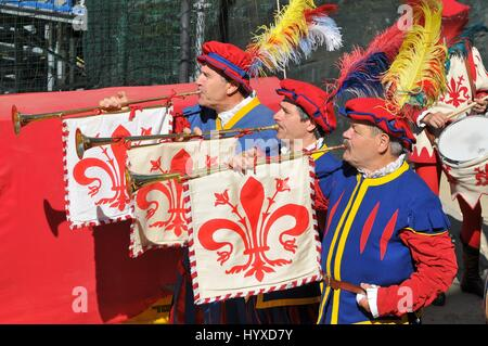 Calcio Storico. Opening ceremony of the match in historical football at the Piazza di Santa Croce in Florence, Italy. - Stock Photo