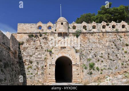 Main entrance to fortress Fortezza in city of Rethymnon, Crete, Greece - Stock Photo