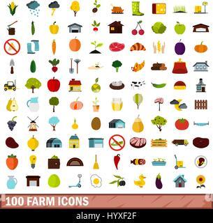 100 farm icons set, flat style - Stock Photo
