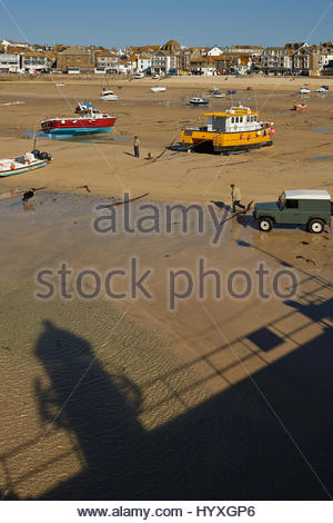 The harbor at St Ives, in Cornwall, a favorite English tourist destination. - Stock Photo