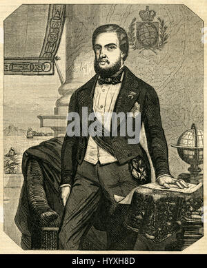 Antique 1854 engraving, 'Dom Pedro II, Emperor of Brazil.' Dom Pedro II (1825-1891), nicknamed 'the Magnanimous', - Stock Photo