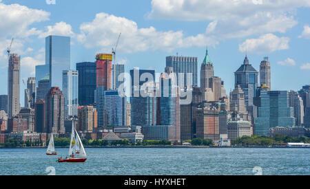 New York cityscape from Ellis Island dock, August-02-2015 - Stock Photo